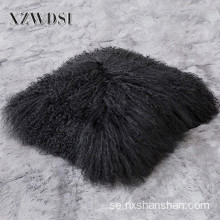 Square Soffa Dekorativa Real Mongoliet Lam Fur Pillow