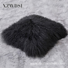 Square Sofa Decorative Real Mongolia Lamb Fur Pillow
