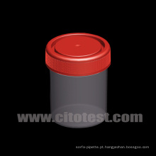 Recipiente de amostras de plástico de 80 Ml com graduação moldada tripla