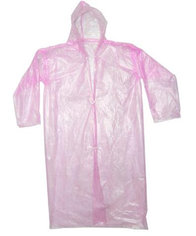 Disposable pink PE Raincoat