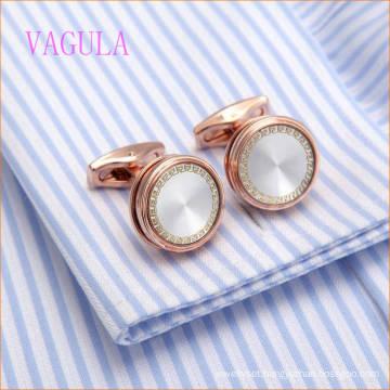 VAGULA Hot Sale Wedding Cuffs Luxury Round French Shirt Cufflinks Rose Gold Cuff Links