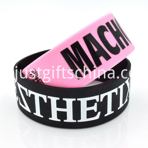 1 Inch Fat Printed Silicone Wristbands - PMS Matched