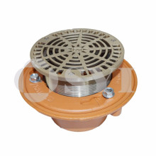 Roof drain with aluminum strainer and cast iron body floor drain