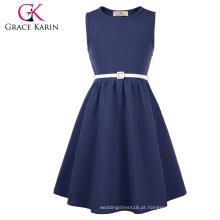 Grace Karin crianças miúdas sem mangas pescoço redondo A-Line Blue Navy Skater Girls Dress CL010482-2