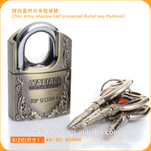 Europe Market Good Quality Zinc Alloy Shackle Half Protected Bullet Key Padlock