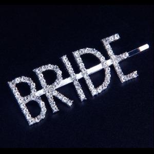 """Crystal Letter """"BRIDE"""" Pinzas para el cabello"""