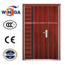 Europ Brown Color Easy Design Entrée Sécurité Porte en acier (W-SZ-06)