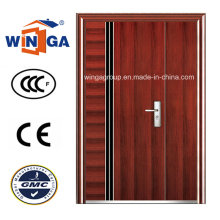 Europ Brown Color Easy Design Entrance Security Steel Door (W-SZ-06)