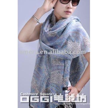 Дамская мода мерсеризованный шерстяной шарф / шаль