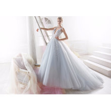 Blue Beading Tulle Evening Bridal Wedding Dress