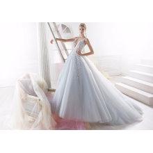 Vestido de noiva nupcial de noite de tule Beading azul