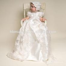 Haute qualité Western bébé filles baptême anniversaire robe avec chapeau bébé anniversaire baptême fille robe