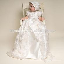 Alta Qualidade Ocidental Do Bebê Meninas Batismo Vestido de Aniversário com Chapéu de Aniversário Do Bebê Baptismo Vestido Da Menina