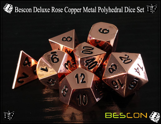 Bescon Deluxe Rose Copper Metal Polyhedral Dice Set-3