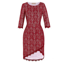 Kate Kasin 3/4 Sleeve Irregular Hem Lace Short Wine Red Prom dress KK000219-1