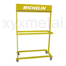 Rolling Movable Tire Metal Messestand Reifen Display Rack