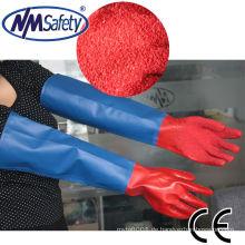 NMSAFETY langärmelige wasser- und luftdichte PVC-Sicherheitshandhandschuhe