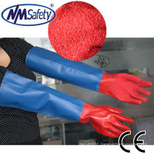NMSAFETY long sleeve water and air proof pvc safety hand gloves