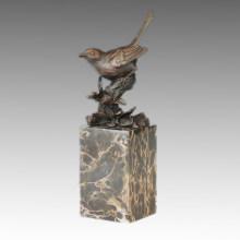 Tier Bronze Skulptur Vogel Vogelchen Schnitzende Dekor Messing Statue Tpal-269 (B)