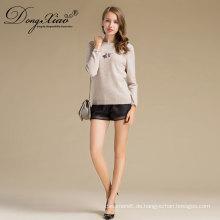 Creme Farbe Rundhals kurze Stil Damen handgemachte stricken Wolle Pullover Muster