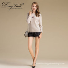 Cream Color Round Neck Short Style Ladies Handmade Knit Wool Sweater Patterns