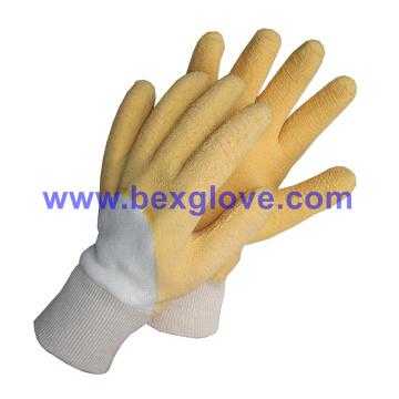 Algodão Jersey Liner, Algodão Knit Wrist, Latex Coating, Ripple Styled Crinkle Finish Glove