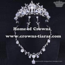 Unique Crystal Wedding Tiaras And Necklace Set