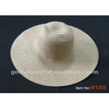 Lady's beige woven plain straw hat for summer