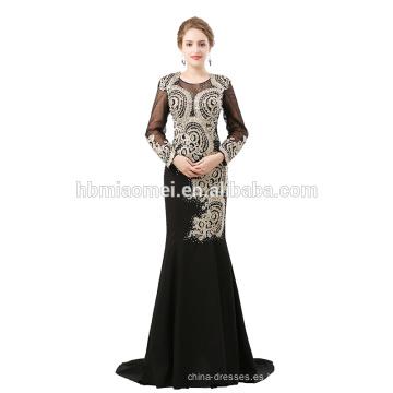 Vestido de noche de las mujeres de color negro con cuentas gruesas de suministro de la fábrica con manga larga