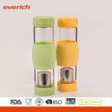 Botella de agua de vidrio de borosilicato de alto grado con inserciones
