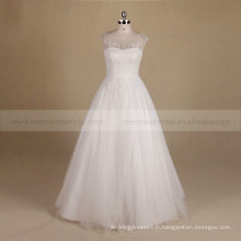 Dainty Scoop Neck Special Bling Beads A-ligne Robe de mariée