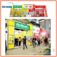 luxury exhibition stand design custom made trade show stall with hanging sign