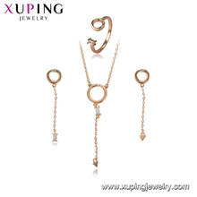 64461 xuping fashion copper drop earring stud charms jewellery set