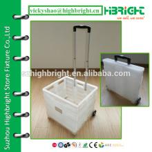 Пластиковая складная тележка для покупок, рулонная тележка с корзиной, корзина для покупок с большой продуктовой корзиной