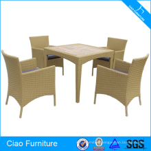 PE rattan furniture dining set teakwood table
