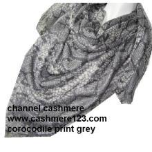 Cashmere Silk Corocodile Square Grey Scarf (Ty0906)
