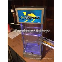 Tabak Einzelhandel Werbung Tabletop Led Beleuchtung 3-Layer abschließbare Overhead Zigarette Rack zum Verkauf