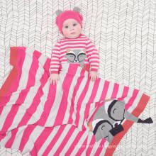 Neueste gestreiften Design Kaschmir stricken Tier Waschbär Bild Intarsien Baby wickeln
