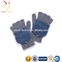 Custom Wool Cashmere Knit Fingerless Mittens Gloves
