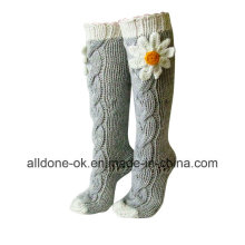 Hand Knit Leg Warmers Boots Socks Knee High Indoor Slippers