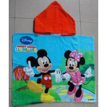 (BC-PB1006) Poncho de plage pour enfants 100% coton imprimé de haute qualité