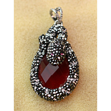 Hot Sale Precious Stone Gemstone Necklace Jewelry Pendant with Crystal