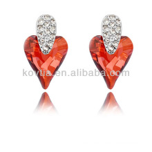 Dubai bride unique heart shape ruby wedding earrings
