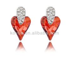 Dubai noiva única forma de coração brincos de casamento ruby