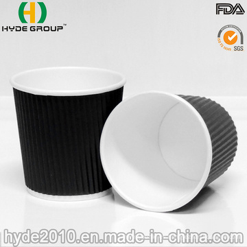 Venta por mayor 4oz / 100ml rizado negro papel caliente taza de café