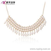 42667 dernière conception collier de perles de mode belle collier de bijoux plaqué or perle d'eau de mer