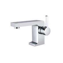 Modern chrome finished zinc alloy handle hot cold mixer faucet cheap bathroom basin faucets