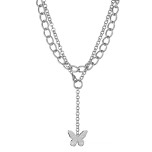 Butterfly pendant combination necklace Cool girl Harajuku clavicle chain exaggerated thick necklace fashion accessories