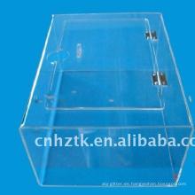 Caja acrilica transparente de caramelos para supermercado.