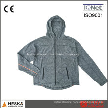 Knitted Hoodies Melange Ploar Fleece Pullover Jacket